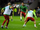 Cristiano Ronaldo warming up for Portugal