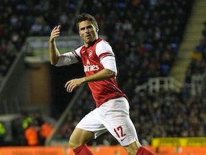 Olivier Giroud celebrates scoring Arsenal's second
