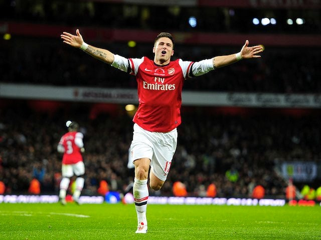Olivier Giroud scores the third for Arsenal