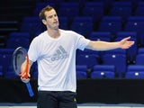 Andy Murray in a practice session ahead of the ATP Finals