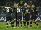 Fabio Quagliarella celebrates with Juventus teammates