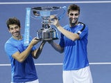 Marcel Granollers and Marc Lopez celebrate their doubles win