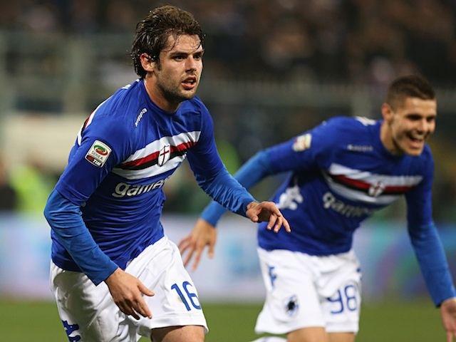 Andrea Poli celebrates scoring for Sampdoria against Genoa on November 18, 2012