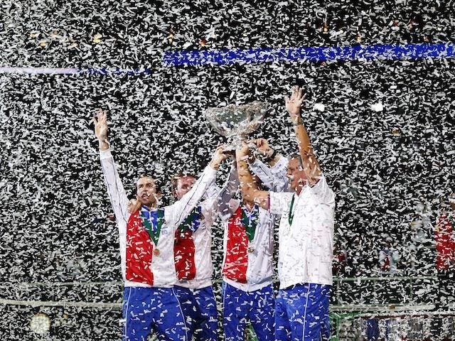 The Czech Republic team celebrate winning the Davis Cup on November 18, 2012