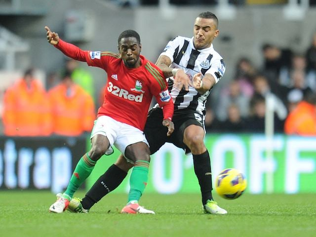 Danny Simpson and Nathan Dyer on November 17, 2012