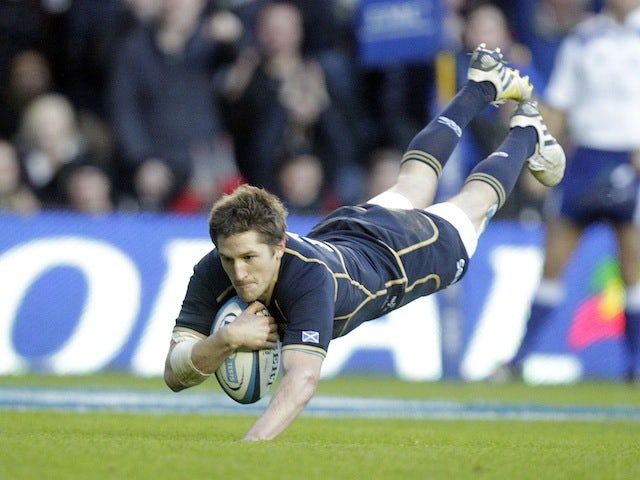 Scotland's Henry Pyrgos scores a try against South Africa on November 17, 2012