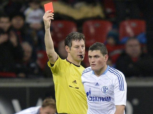 Schalke's Kyriakos Papadopoulos sees red on November 17, 2012