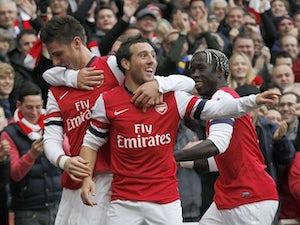 Santi Cazorla celebrates scoring for Arsenal on November 17, 2012