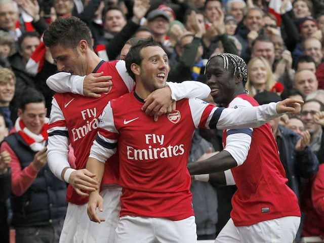 Santi Cazorla celebrates scoring for Arsenal on November 17, 2012