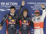 Sebastian Vettel, Mark Webber and Lewis Hamilton at US Grand Prix qualifying on November 17, 2012