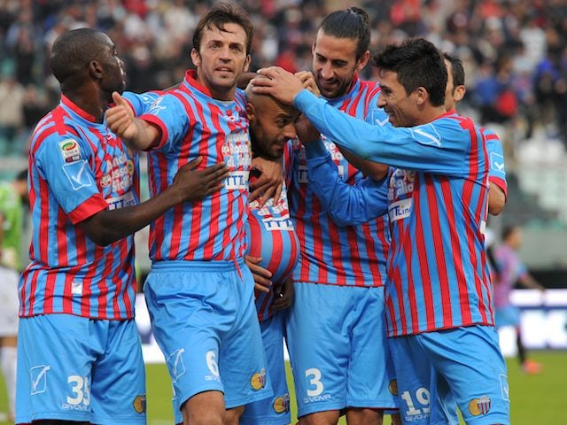 Sergio Almiron celebrates scoring for Catania on November 18, 2012