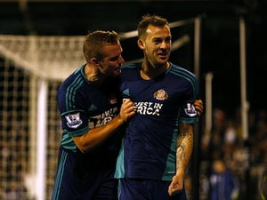 Steven Fletcher celebrates scoring for Sunderland with Lee Cattermole on November 18, 2012