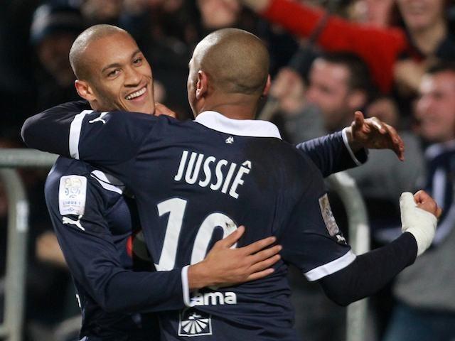 Yoan Gouffran celebrates scoring for Bordeaux against Marseille on November 18, 2012