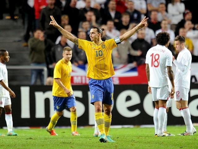 Sweden's Zlatan Ibrahimovic scores four against England on November 14, 2012