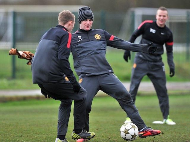 Wayne Rooney in training on November 19, 2012