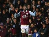 Christian Benteke celebrates scoring the winner for Aston Villa on November 27, 2012