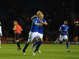Zak Whitbread celebrates after scoring the opener against Derby on December 1, 2012
