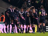 Cheick Diabate is congratulated by team mates after scoring his second goal against Newcastle on December 6, 2012