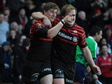 Saracens' David Strettle celebrates after scoring his try on December 16, 2012
