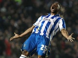 Brighton's Lua Lua celebrates his goal against Millwall on December 18, 2012