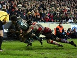 Anthony Allen scores a try against Gloucester on December 29, 2012