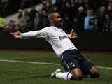 Spurs striker Jermaine Defoe celebrates his opener against Aston Villa on December 26, 2012