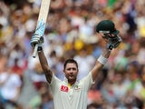 Australian captain Michael Clarke celebrates after scoring a century against Sri Lanka on December 27, 2012