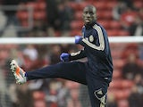 Chelsea's new striker Demba Ba warms up before the third round tie with Southampton on January 5, 2013