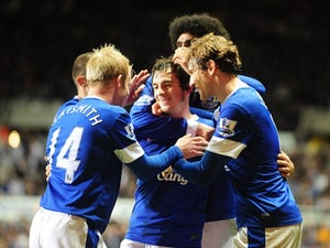Everton players congratulate Leighton Baines after his equaliser against Newcastle on January 2, 2013