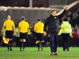 Barnsley caretaker manager David Flitcroft celebrates watching his side beat Leeds United on 12 January, 2013