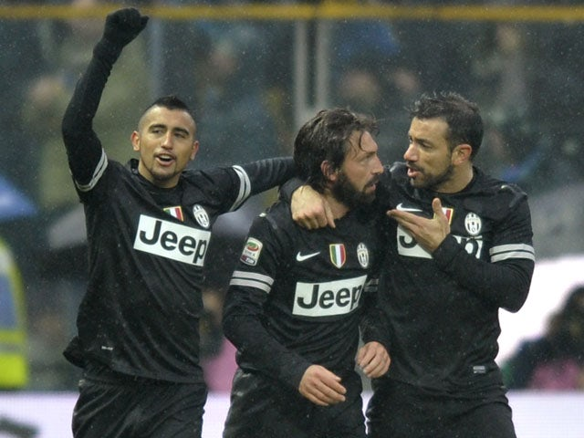 Juventus midfielder Andrea Pirlo celebrates with teammates after scoring against Parma in their Serie A clash on 13 January, 2013