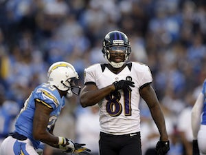 Baltimore Ravens wide receiver Anquan Boldin reacts after a successful compeltion during his sides match against the San Diego Chargers on November 25, 2012