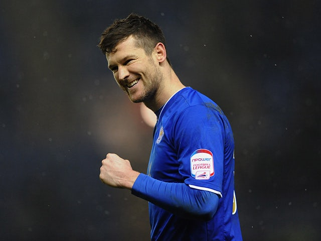 Leicester City's David Nugent celebrates after scoring the opening goal against Middlesbrough on January 18, 2013