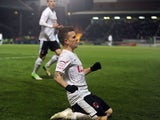 Leyton Orient's Dean Cox celebrates scoring for his side in their FA Cup third round replay on January 15, 2013