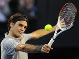Swiss star Roger Federer in action against Nikolay Davydenko on January 17, 2013