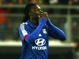 Lyon forward Bafetimbi Gomis celebrates a goal against Valenciennes on January 25, 2013