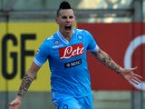 Napoli's Marek Hamsik celebrates scoring the opener against Parma on January 27, 2013