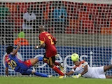 Cape Verde's Ryan Mendes scores a goal against Angola on January 27, 2013