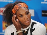 Serena Williams answers questions at a press conference following her quarter-final exit to Sloane Stephens on January 23, 2013