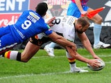 Michael Platt scores for the Bradford Bulls in their match with Wakefield Wildcats on February 3, 2012