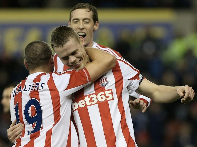 Stoke skipper Ryan Shawcross is congratulated after his goal against Wigan on January 29, 2013