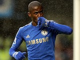 Chelsea's Nascimento Ramires celebrates after scoring his side's first goal in their match with Wigan on February 9, 2013