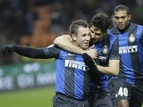 Inter Milan forward Antonio Cassano celebrates after scoring against Chievo on February 10, 2013