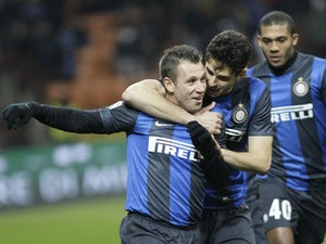 Inter Milan forward Antonio Cassano celebrates after scoring against Chievo on February 10, 2013