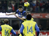 Inter Milan defender Andrea Ranocchia scores his side's second goal against Chievo on February 10, 2013