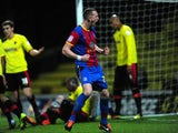 Crystal Palace's Peter Ramage celebrates scoring their first goal against Watford on February 8, 2013
