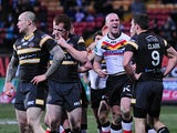 Bradford Bulls' Adam Sidlow celebrates scoring his try against Castleford Tigers on February 16, 2013