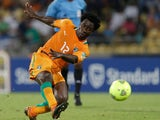 Ivory Coast's Bony Wilfried scores against Algeria on January 30, 2013