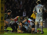 Harlequins' Danny Care goes over to score a try against Leicester Tigers on February 16, 2013