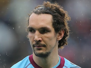 West Ham United player Emanuel Pogatetz during his side's match with Aston Villa on February 10, 2013